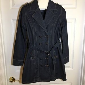 "JouJou Denim Trench Coat Size L 34"" length"